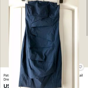 Patrizia Pepe Navy Blue Strapless Dress 40 Italy